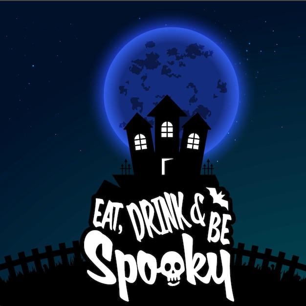 Fond de nuit effrayant halloween heureux Vecteur gratuit