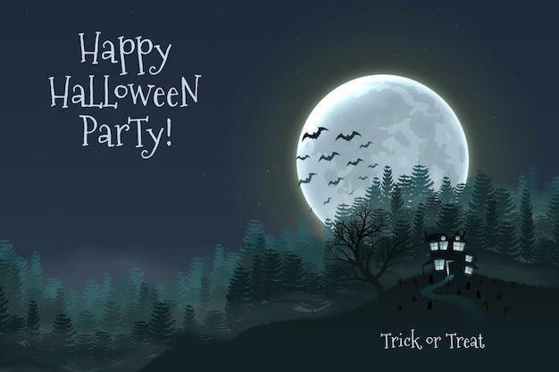 Fond de nuit halloween heureux avec maison effrayante hantée. Vecteur Premium