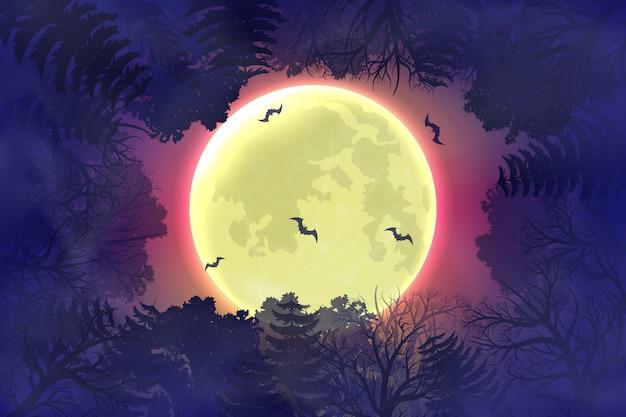 Fond de nuit halloween heureux avec la silhouette de la forêt. Vecteur Premium