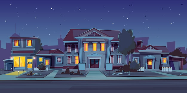Fond De Nuit Avec Location De Maison Vecteur gratuit