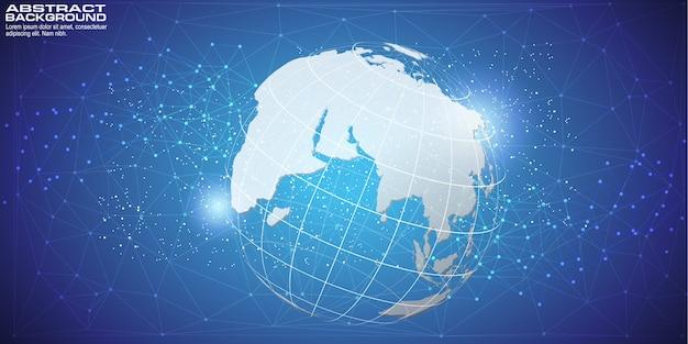 Fond numérique avec carte du monde Vecteur Premium