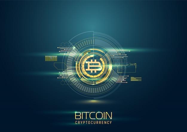 Fond Numérique Futuriste Avec Bitcoin. Concept De Crypto-monnaie. Vecteur Premium