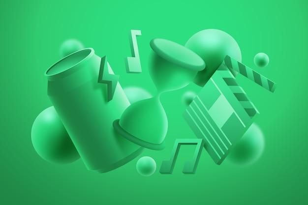 Fond D'objets Monochromes 3d Vecteur gratuit