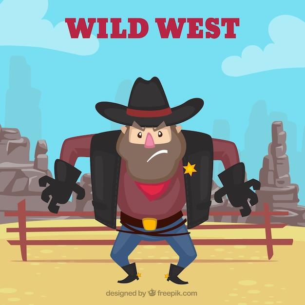 Fond occidental avec shérif en colère Vecteur gratuit