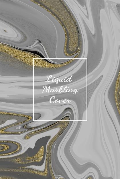 Fond D'oeuvre Abstraite En Marbre Blanc Liquide Avec Texture De Ligne Or. Vecteur Premium