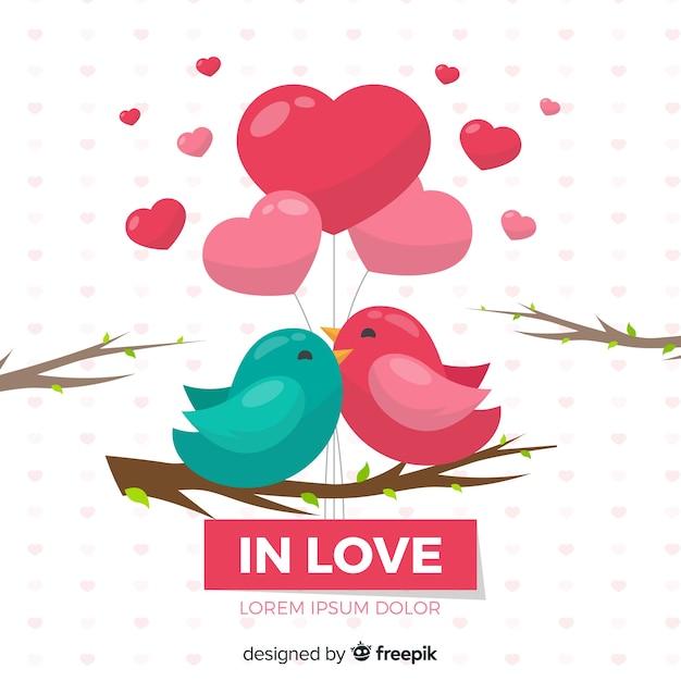 Fond D'oiseaux D'amour Vecteur gratuit