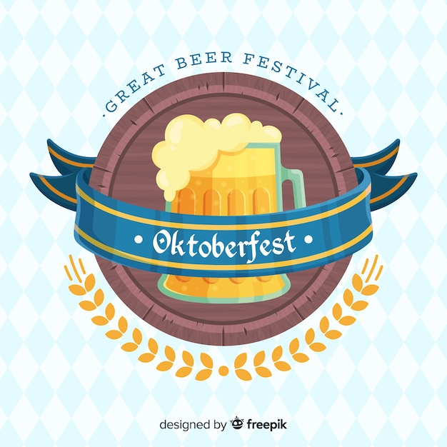 Fond oktoberfest design plat avec une chope de bière Vecteur gratuit