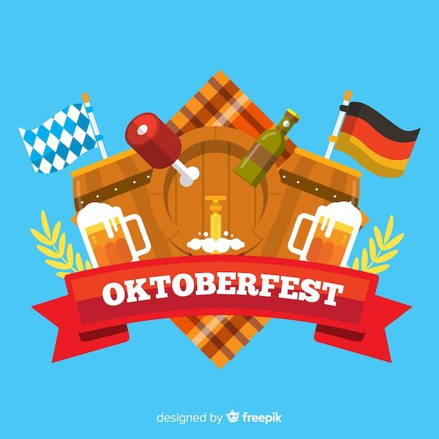 Fond oktoberfest design plat avec des éléments Vecteur gratuit