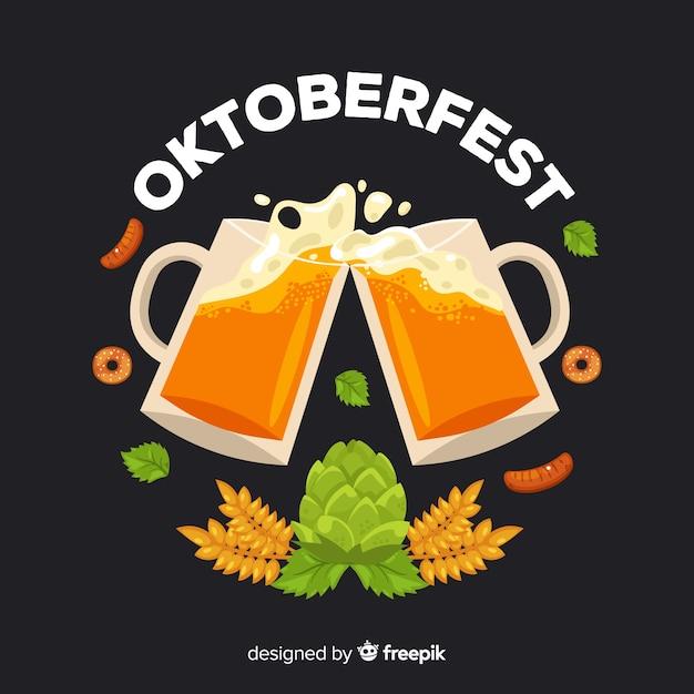 Fond d'oktoberfest design plat Vecteur gratuit