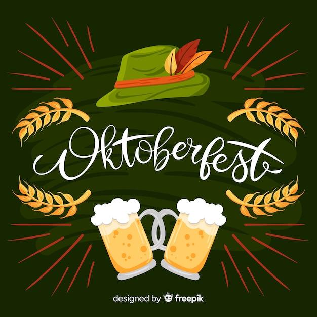 Fond d'oktoberfest dessiné à la main Vecteur gratuit