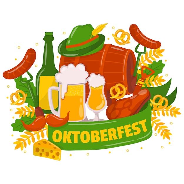 Fond oktoberfest avec des éléments traditionnels Vecteur Premium