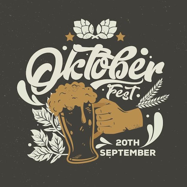 Fond Oktoberfest Vintage Avec Pinte Vecteur gratuit
