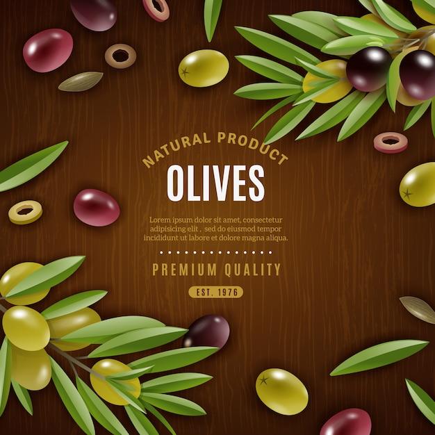 Fond d'olives naturelles Vecteur gratuit