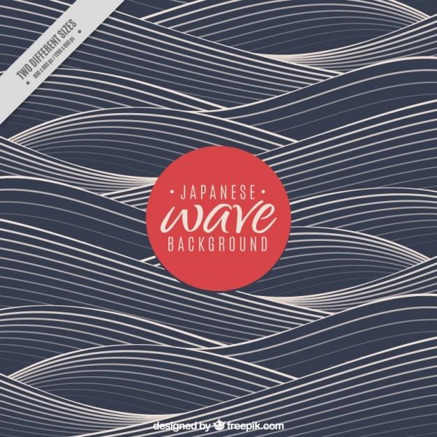 Fond d'onde foncé dans le style japonais Vecteur gratuit