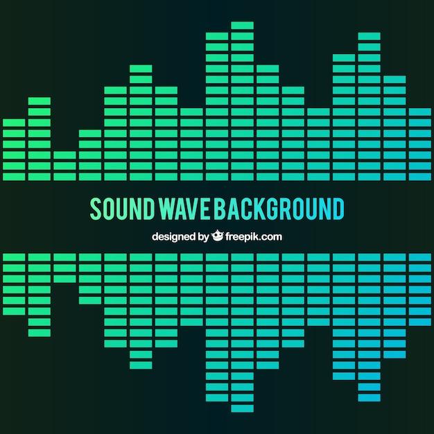 Fond d'ondes sonores en tons verts Vecteur gratuit