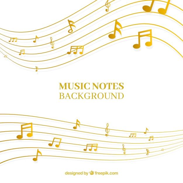 Fond d'or pentagramme avec notes musicales Vecteur gratuit