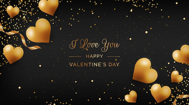 Fond D'or De La Saint-valentin Vecteur gratuit