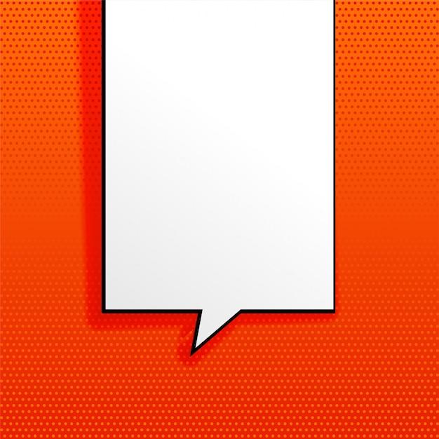 Fond orange avec une bulle de chat vide Vecteur gratuit