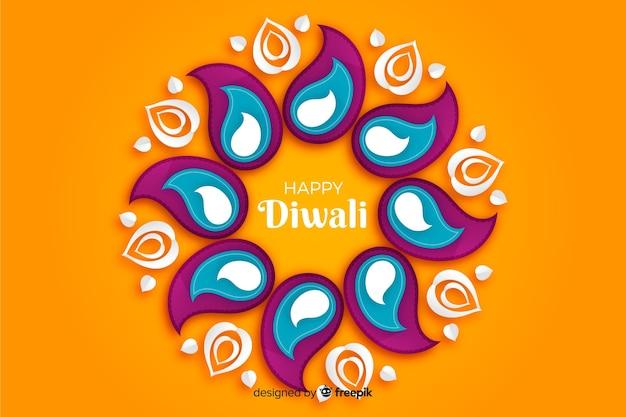 Fond orange de diwali dans le style de papier Vecteur gratuit