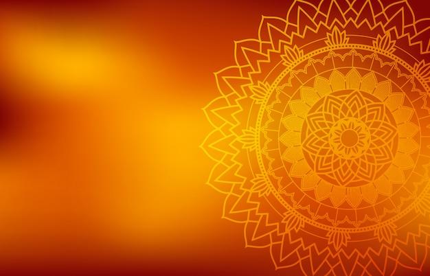Fond Orange Avec Mandala Vecteur gratuit