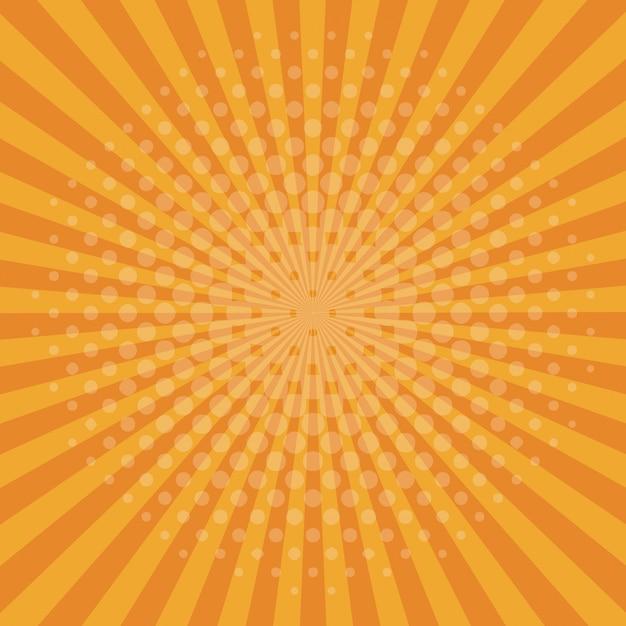 Fond orange pop art Vecteur Premium