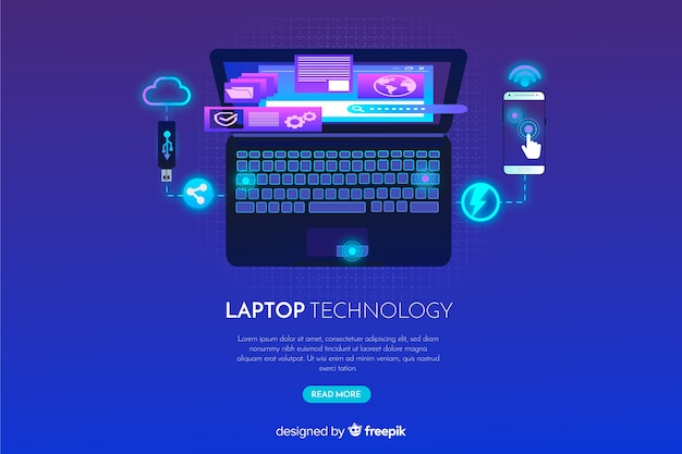 Fond d'ordinateur portable dégradé vue de dessus Vecteur gratuit