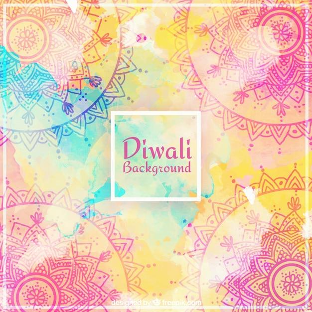 Fond ornemental de l'aquarelle diwali Vecteur gratuit