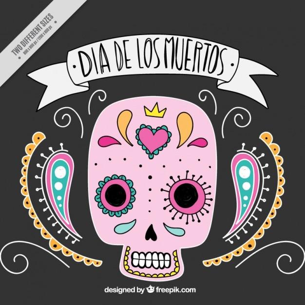 Fond Ornemental Du Mexicain Jour Du Crâne Des Morts Vecteur gratuit