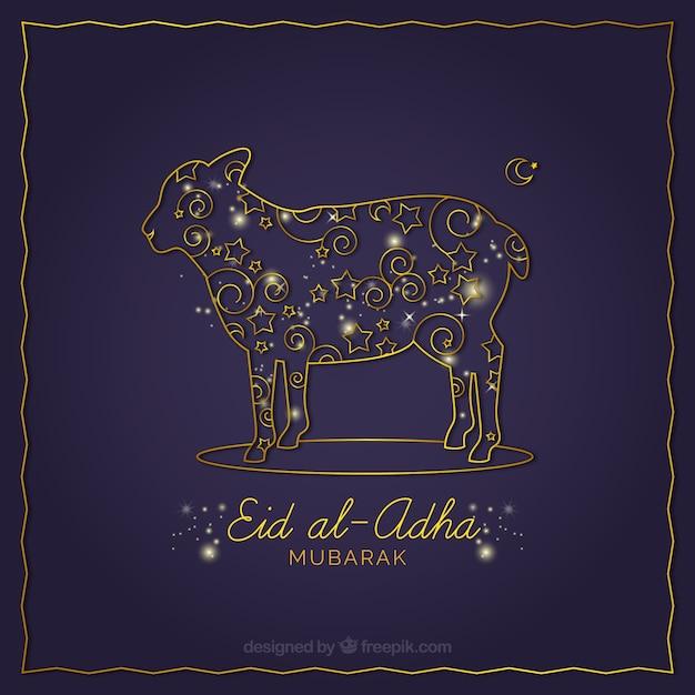 Fond Ornemental De Eid Al-adha Vecteur gratuit