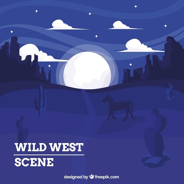 Fond ouest sauvage à cheval dans la nuit Vecteur gratuit
