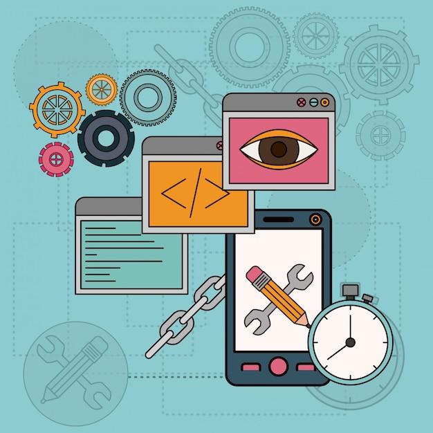 Fond avec des outils logiciels pour le développement de la construction en smartphone Vecteur Premium