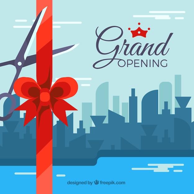 Fond D'ouverture Avec La Ville En Conception Plate Vecteur gratuit