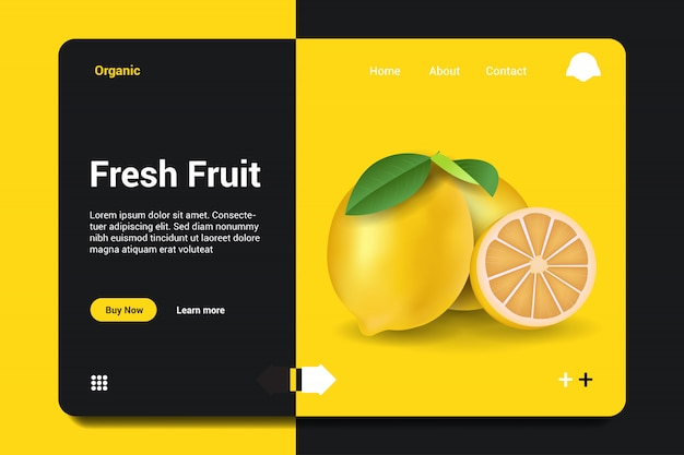 Fond de page d'atterrissage de fruits frais. Vecteur Premium