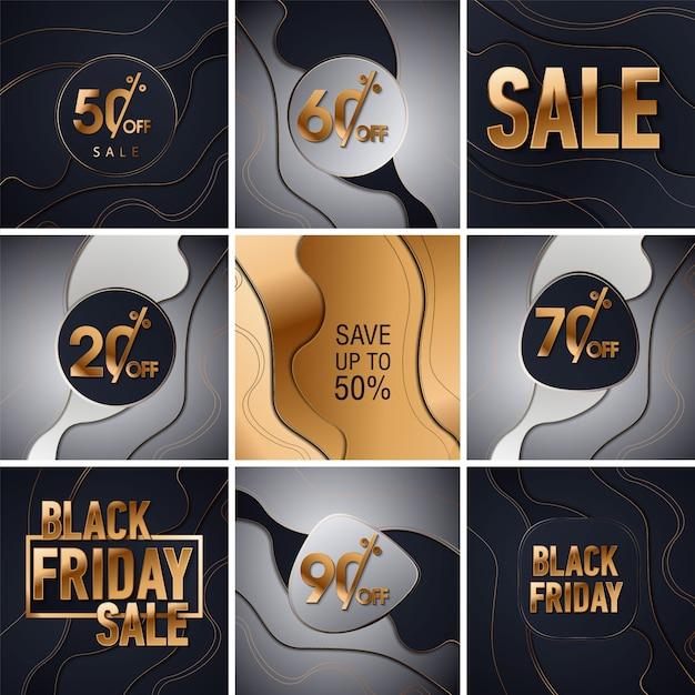 Fond De Paillettes D'or Vente Vendredi Noir. Fond Noir Brillant Or Brille. Super Vente Logo Vendredi Pour Bannière, Web, En-tête Et Flyer, Design. Vecteur Premium