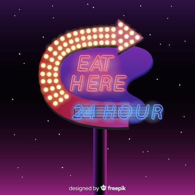 Fond de panneau d'affichage néon réaliste Vecteur gratuit