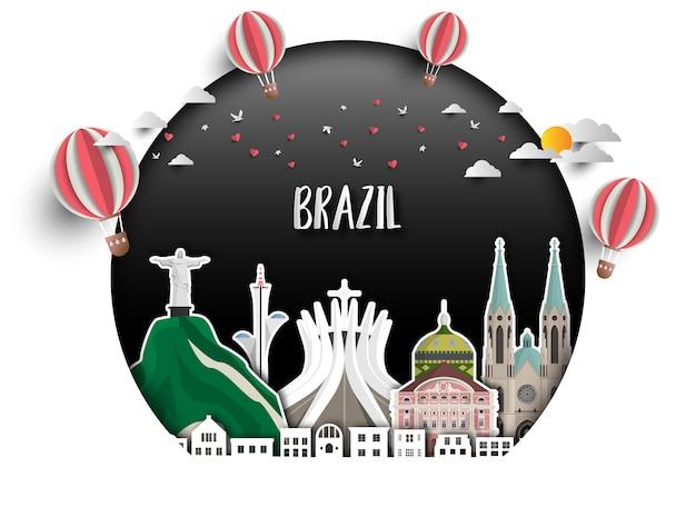 Fond de papier brésil landmark global travel and journey. Vecteur Premium