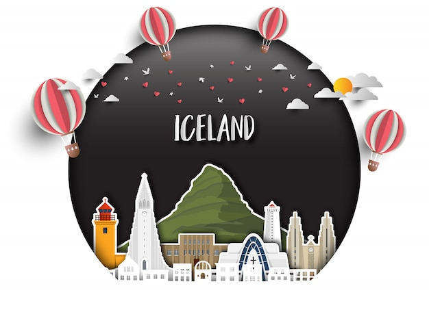 Fond de papier d'islande landmark global travel and journey Vecteur Premium