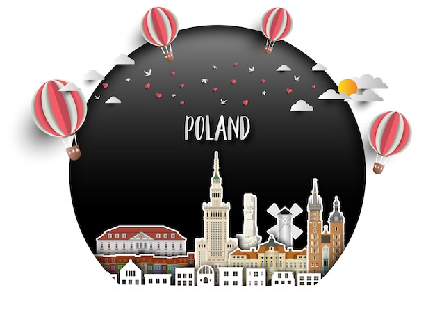 Fond de papier pologne landmark global travel and journey. Vecteur Premium