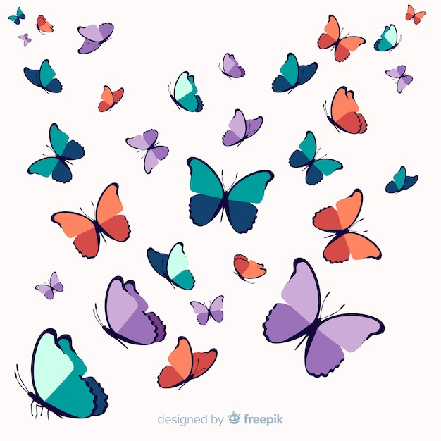 Fond De Papillon Essaim Dessiné à La Main Vecteur gratuit