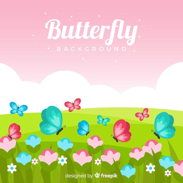 Fond papillon Vecteur gratuit