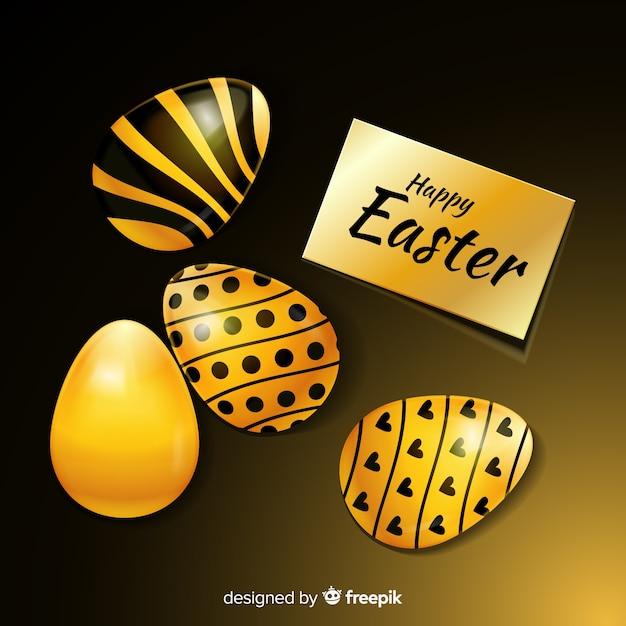 Fond de pâques joyeux noir et or Vecteur gratuit