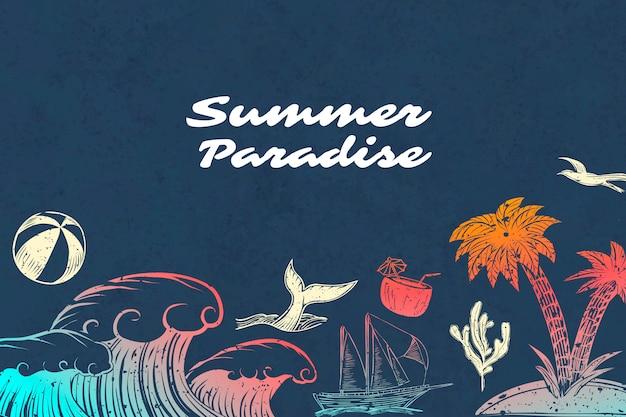 Fond de paradis d'été Vecteur gratuit