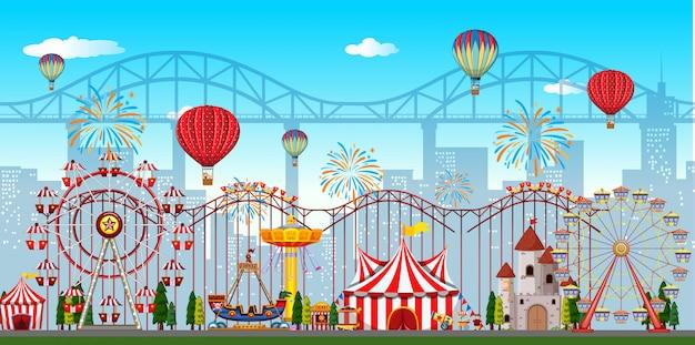Un fond de parc d'attractions Vecteur Premium