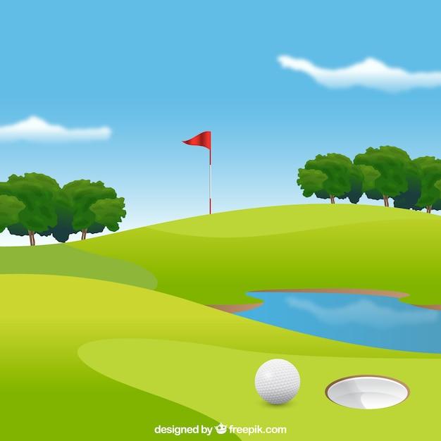 Fond de parcours de golf dans un style réaliste Vecteur gratuit