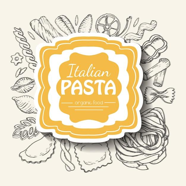 Fond avec des pâtes italiennes Vecteur Premium