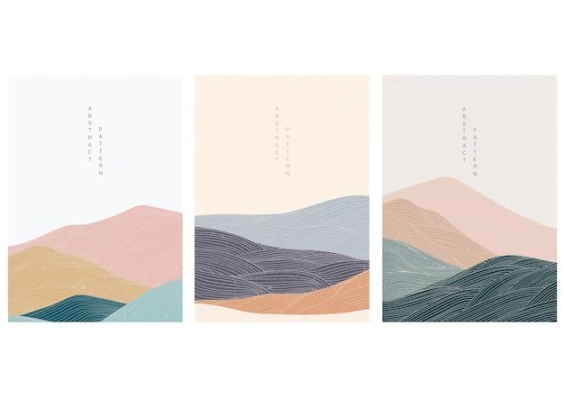 Fond De Paysage Abstrait Avec Un Style Japonais. Montagne Avec Des éléments De Ligne. Vecteur Premium
