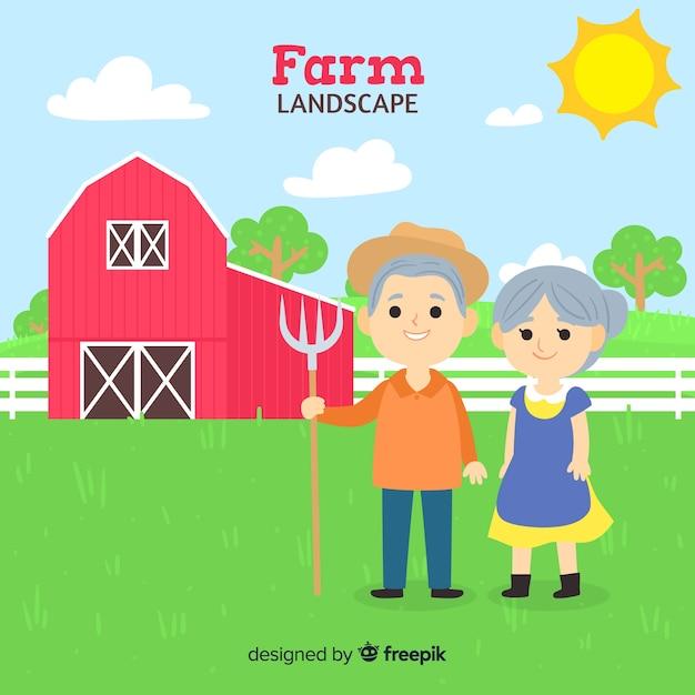 Fond de paysage agricole dessinés à la main Vecteur gratuit