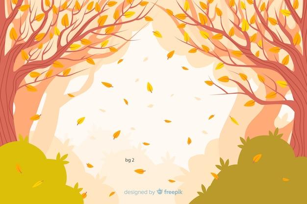 Fond de paysage d'automne plat Vecteur gratuit