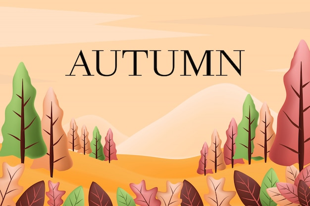 Fond de paysage d'automne Vecteur Premium