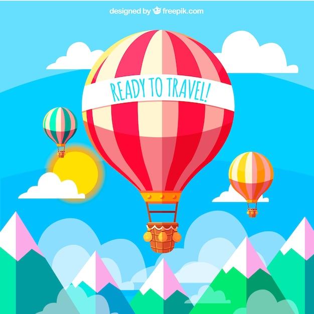 Fond De Paysage Avec Des Ballons à Air Chaud Dans Un Design Plat Vecteur gratuit